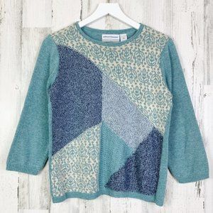 Alfred Dunner Grannie Patchwork 3/4 Sleeve Sweater